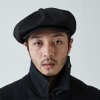 Rugged fabric newsboy cap [BLACK]