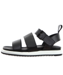 릴리즘프로덕트() RELIZMPRODUCT Black Leather Buckle Sandals