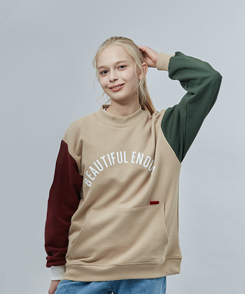 모티브스트릿(MOTIVESTREET) [기모추가]COLOR BLOCK SWEAT SHIRT BEIGE