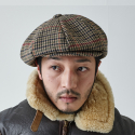 밀리어네어햇(MILLIONAIRE HATS) BIG APPLE [2WAY] - CLASSIC CHECK NEWSBOY CAP - HOUNDS TOOTH BEIGE