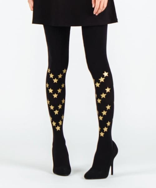 유니팝 레그웨어(UNIPOP LEGWEAR) STAR PATTERN [BLACK_gold]