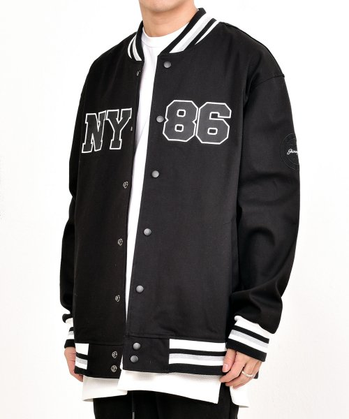 쟈니웨스트(JHONNY WEST) US Varsity Jacket (Black)
