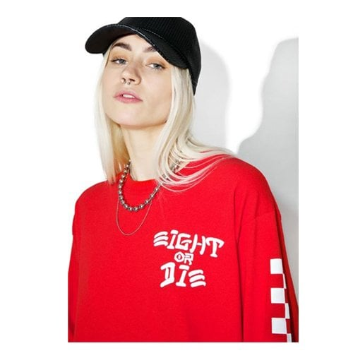 레벨8(REBEL8) REBEL8 EIGHT OR DIE LONGSLEEVE TEE (RED)