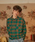 버닝(BURNING) Double Pocket Check Shirt (Green)