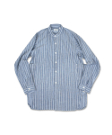 스웰맙() swellmob linen collarless french work shirts -stripe-
