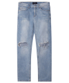 M#1275 knee crush washed crop jeans