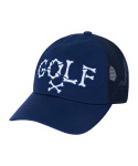 바잘() Golf side mesh ballcap navy