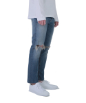 AYC Medium Wash Destroyed Jeans 001 (Cropped ver.) / 아영상사 중청 무파진 001 크롭