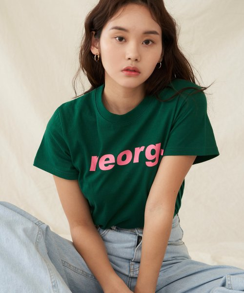 리올그(REORG) PRINTING WOMAN T-SHIRTS GREEN