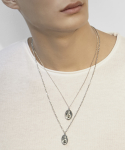 셉텐벌5() Oval medal skinny chain necklace