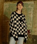 베이에잇(VEI-8) [UNISEX] CHECKERBOARD KNIT - BLACK