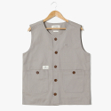 헨더(HANDER) Put Up Crew Neck Vest [Beige]