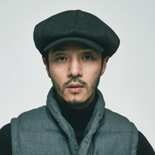 밀리어네어햇(MILLIONAIRE HATS) wool tweed newsboy cap - dark gray mix