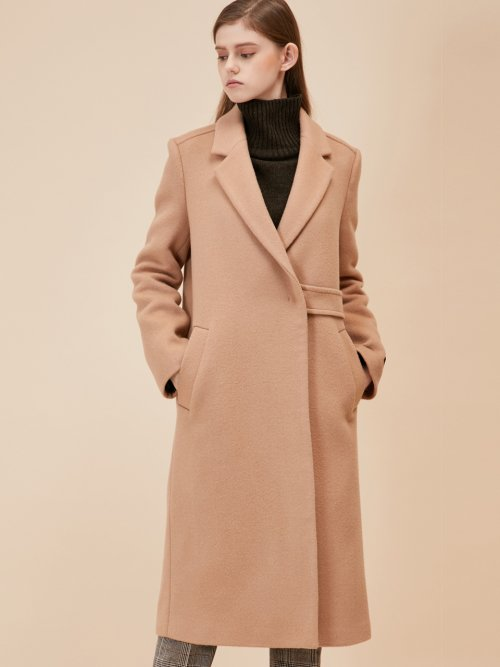 룩캐스트(LOOKAST) BEIGE HALF BELT COAT