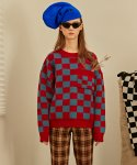 베이에잇(VEI-8) [UNISEX] CHECKERBOARD WOOL KNIT - RED