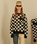 베이에잇(VEI-8) [UNISEX] CHECKERBOARD WOOL KNIT - BLACK