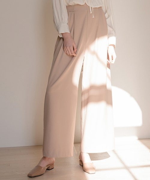 몬츠(MONTS) monts604 belt-slit wide beige pants