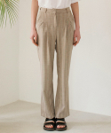 논로컬(NONLOCAL) Checked Pintuck Pants - Beige