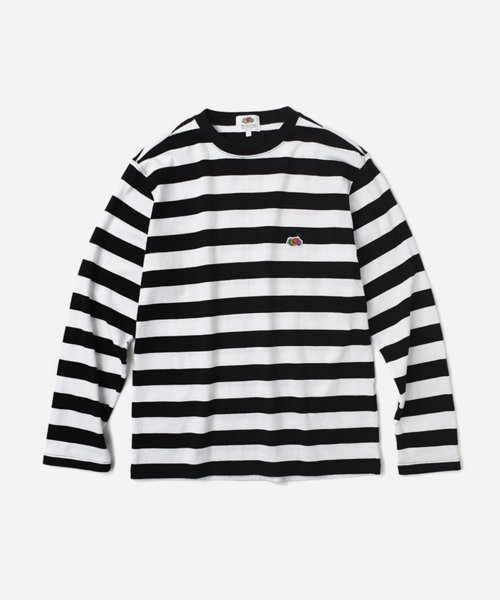 프룻오브더룸(FRUIT OF THE LOOM) L/S MIDDLE STRIPE T-SHIRTS BLACK