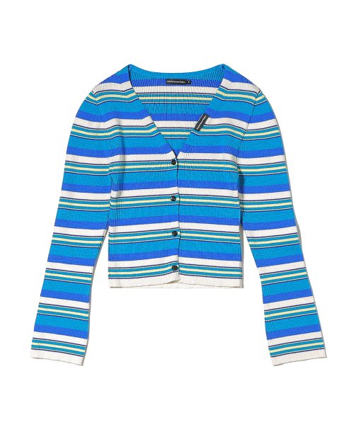 디스이즈네버댓(THISISNEVERTHAT) Multi Color Striped Cardigan Blue