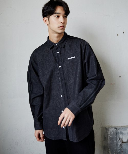 매드마르스(MADMARS) 2 LINE DENIM SHIRTS_BLACK