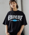 CURVED SLOGAN T-SHIRTS_BLACK