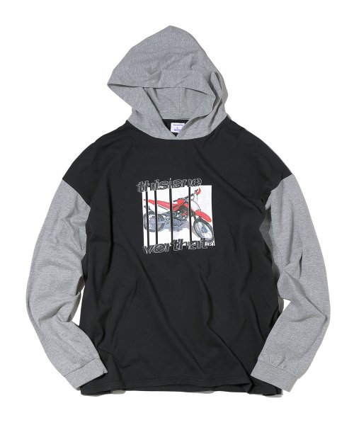 디스이즈네버댓(THISISNEVERTHAT) Motorcycle Hooded L/SL Top Black/Grey
