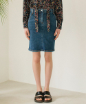 논로컬() Slim Denim Skirts - Dark Blue