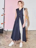 노앙(NOHANT) INSIDE-OUT SLEEVELESS SHIRT DRESS NAVY