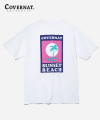 S/S SUNSET PALM TREE TEE WHITE/NAVY