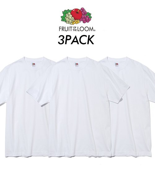 프룻오브더룸(FRUIT OF THE LOOM) [Asian fit] 210g 3PACK T-SHIRTS WHITE
