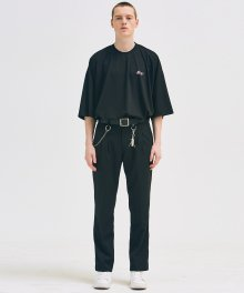 PINTUCK LONG WIDE SLACKS BLACK