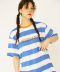 NECK POINT STRIPE T-SHIRTS_BLUE
