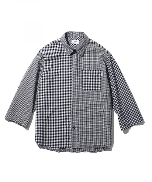에스피오나지(ESPIONAGE) Gump Multi Check Shirt Dark Navy