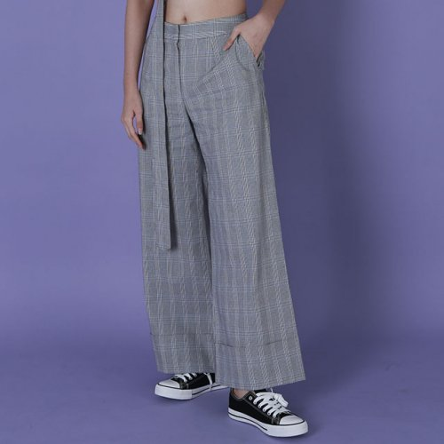 라잇루트(RIGHT ROUTE) check roll-up wide pants[한사랑&전영은]