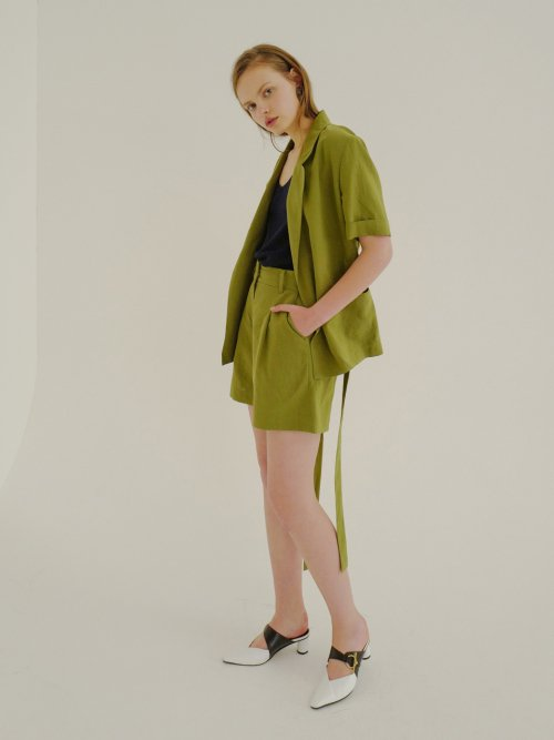 로지에(ROSIER) 18ss high waist short pants khaki