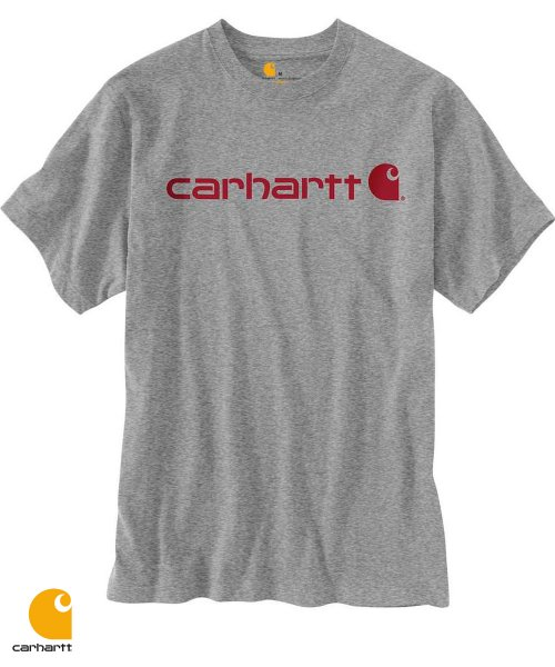 칼하트(CARHARTT) K195 SIGNATURE LOGO T-SHIRT S/S (GRANITE HEATHER)