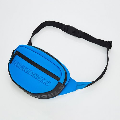 스트레치 엔젤스(STRETCH ANGELS) [N.E.O] Round front zipper belt bag (Blue)