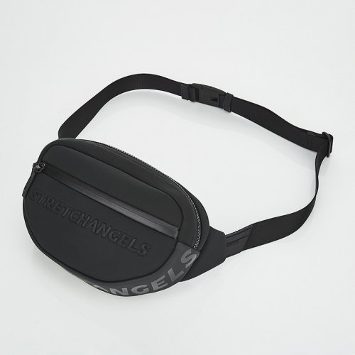 스트레치 엔젤스(STRETCH ANGELS) [N.E.O] Round front zipper belt bag (Black)