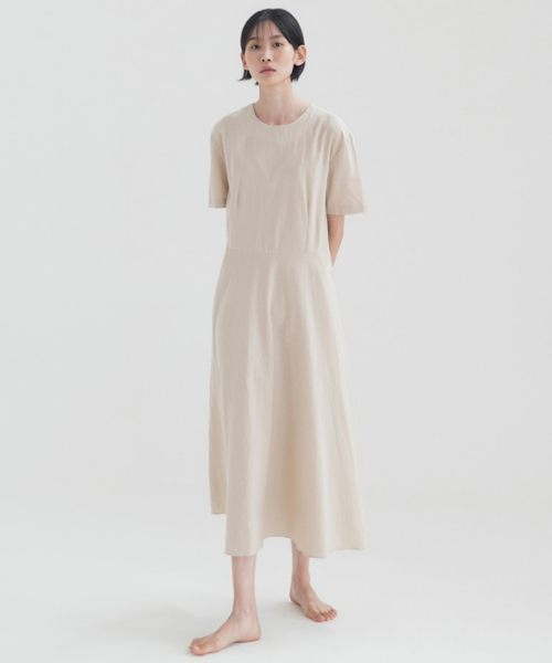 논로컬(NONLOCAL) [17th Re-stock] Linen Flared Dress - Beige
