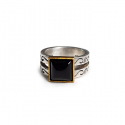 윌리앤더피(WILLIE and DUFFY) Double Square Gemstone Ring - (Onyx) (실버925) (핸드메이드)