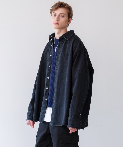 인사일런스(INSILENCE) OVERSIZED DENIM SHIRT (black)