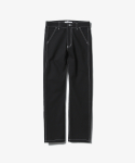 Contrast Stitch Regular Fit Pants [Black]