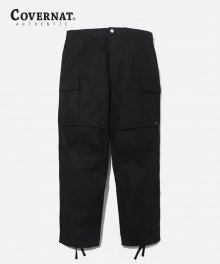COTTON TWILL CARGO PANTS BLACK