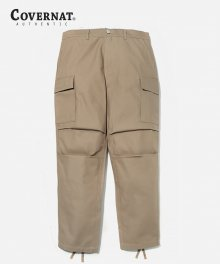 COTTON TWILL CARGO PANTS BEIGE