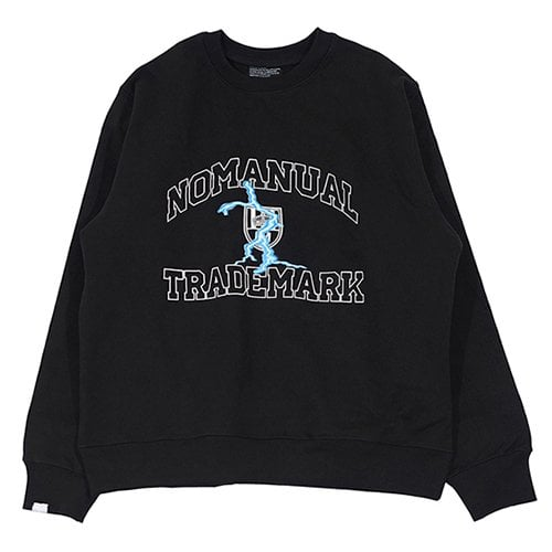 노매뉴얼(NOMANUAL) ARCH LOGO SWEAT SHIRT - BLACK