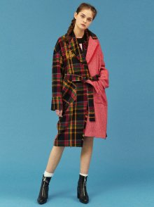 CHECK COMBINATION ROBE COAT_RED (EEOG3CTR01W)