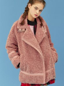 FAKE LAMB FUR COAT_PINK (EEOG4CTR01W)