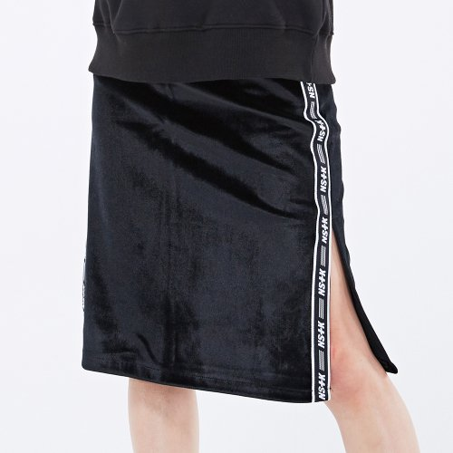 네스티팬시클럽(NASTY FANCY CLUB) [NF] LINE VELVET MIDDY SKIRT BLACK (NF18A019H)