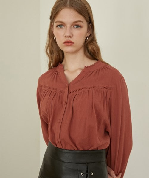 몬츠(MONTS) monts767 shirring lace puff blouse